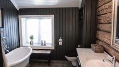 Lekkert bad med tømmervegg – Nr 14 – Interiørhjelp Bathtub, Bathroom, Standing Bath, Bath Room, Bath Tub, Bathrooms, Bathtubs, Bath, Bathing
