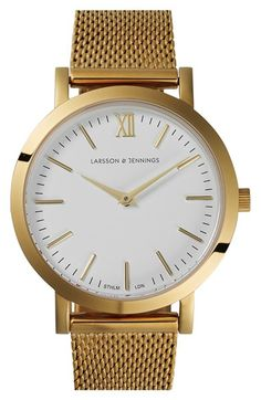 classic Larsson & Jennings watch with gold mesh wrist strap and white face // Jewelry Style Ideas Stainless Steel Mesh, Gold Face, Mesh Band, Telling Time, Fashion Watches, Ivory, Watches For Men, Armband, Rose Gold