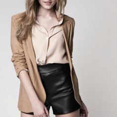 Hot leather shorts!
