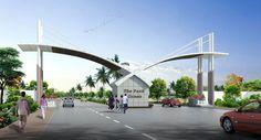 entrance gate design for township Steel Gate Design, Main Gate Design, Door Gate Design, Entrance Design, Roof Design, Entrance Gates, Main Entrance, Grand Entrance, Module Design