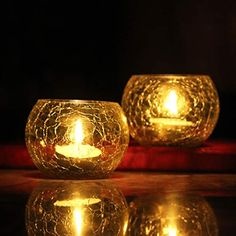 Brahmz Candle Holder Crackle Tealight Votive for Home Decor Gift Glass Candle Votive (Yellow - Pack of 2) BRAHMZ