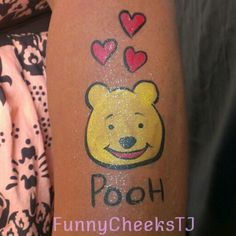 Face painting for very Happy Birthday Party by FunnyCheeksTJ...Pooh Bear and hearts