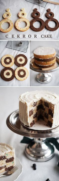 How to make a checkered cake...for a car/racing party, this would be perfect with dark chocolate/a bit of food coloring to make black and white checkerboard!