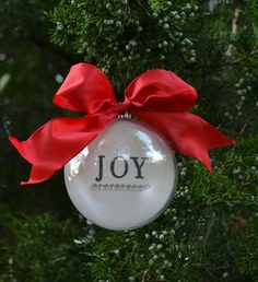 DIY ornament (you can do names, photos, scrapbook paper, or draw your own design to customize it)