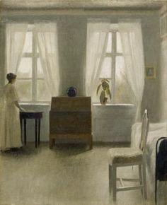 """ArtG007. Vilhelm Hammershøi """"Bedroom"""" / Oil on canvas / 1896"""