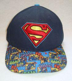 Kids DC Comics Superhero Clark Kent Superman Text and Logo Cuffed POM Beanie