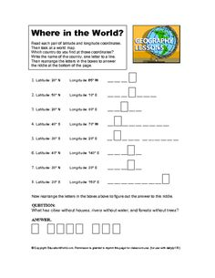 Education World: Latitude and Longitude Worksheet Geography Worksheets, Social Studies Worksheets, Geography Lessons, Teaching Geography, Social Studies Activities, Teaching Social Studies, Geography Quiz, Map Worksheets, School Worksheets