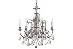 I love crystal and wrought iron chandeliers