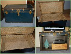 I took this vintage steamer trunk that was my mom's and made it into a TV stand