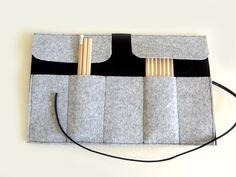 Roll felt  pencil case black and grey by lalunadianna on Etsy