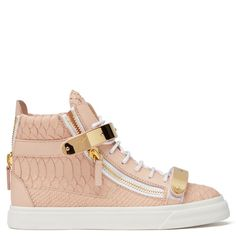 Golden metal hardware adds instant authority to these high-top sneakers, while smooth and crocodile-print leather panels contrast pleasingly for a polished effect.