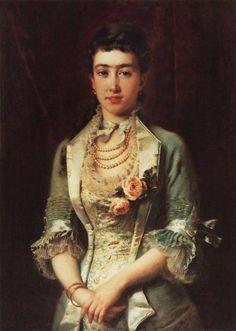 Portrait of a Woman by Konstantin Makovsky, 1870's-80's Russia #victorian #art #painting