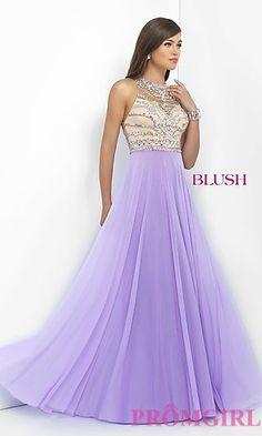 Long Sleeveless Chiffon Blush Prom Dress BL-11069 at PromGirl.com