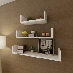 3 White MDF U-shaped Floating Wall Display Shelves Book/DVD Storage - - Hardware