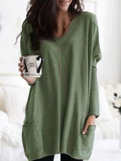 Fanbety Autumn Casual Long Sleeve Party Dress Women O-neck Pockets Mini Dress Elegant Solid Loose Dresses Vestidos Plus Size Plus Size Clothing Online, T Shirt, Sweatshirt, Casual Tops For Women, Ladies Tops, Party Dresses For Women, Wedding Dresses, Casual Fall, Plus Size Tops