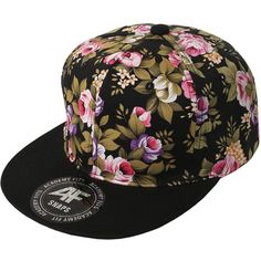 SMITHJAY Hipster Hip-Hop 2 Tone Floral Solid Brim Snapback Hat Cap... ($12) ❤ liked on Polyvore featuring accessories, hats, floral brim snapback, caps hats, floral cap, pink cap и black hat