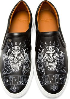 Givenchy Black Skulls and Playing Cards Slip_on Sneakers in Black for Men - Lyst