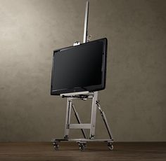 Polished Nickel TV Easel from Restoration Hardware. Love that you can crank to adjust the height of the TV. Luz Natural, Tv Floor Stand, Find Furniture, Smart Furniture, Furniture Ideas, Wall Mounted Tv, Industrial Chic, Industrial Design, Restoration Hardware