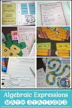 Algebraic Expressions Stations includes 4 games & activities relating to the concept of algebraic expressions and notes/practice for interactive notebooks. Have your students engaged with hands-on math! $ gr 5-8
