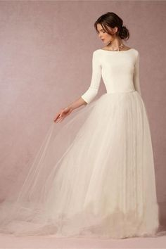 Cheap Stunning Winter Wedding Dresses A Line Satin Top Backless 2016 . Cheap Stunning Winter Wedding Dresses A Line Satin Top Backless 2016 Wedding Dresses With Sleeves Simple Design Soft Tulle Skirt Sweep TrainWedding Dr. Cheap Modest Wedding Dresses, Western Wedding Dresses, Dresses To Wear To A Wedding, Wedding Dresses Plus Size, Bridal Dresses, Wedding Outfits, Cheap Dresses, Formal Dresses, Simple Dresses