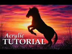 How to paint a sunset   Acrylic horse painting lesson - YouTube