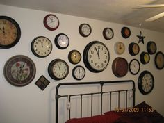 Wall of clocks great for an office or boys room