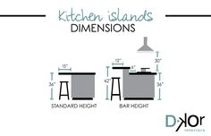 DKOR Interiors's Tips - Standard dimensions for kitchen islands / Residential Interior Design #architecture #interiordesign #kitchendesign #kicthendimensions