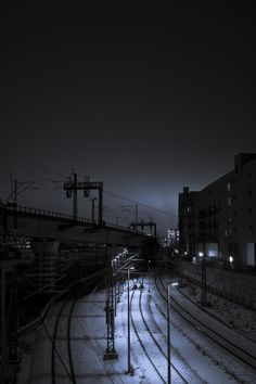 Railway by the night  #photography, #night, #train, #railway, #blue, #black, #city