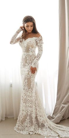 36 Chic Long Sleeve Wedding Dresses ❤ long sleeve wedding dresses lace off the shoulder with train sexy berta #weddingforward #wedding #bride