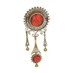 Pre-owned 14k Yellow Gold And Hand Carved Red Coral Flower Pin Brooch ($850) ❤ liked on Polyvore featuring jewelry, brooches, pin brooch, vintage broach, vintage brooches, 14k gold jewelry and flower pin brooch