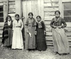"""""""Tahltan girls,"""" Telegraph Creek, c. Grizzly Bear Habitat, Salmon Run, Historical Images, First Nations, British Columbia, Nativity, Environment, Culture, Native Americans"""