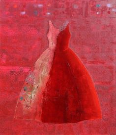 """Christina Chalmers ~ """"Red Dress"""" Painting: Oil, Gold Leaf, Antique Lace on Canvas 60 x 52 via Paintings via selbyfleetwoodgallery.com"""