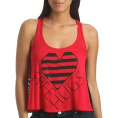 Free Hugs Crochet Tank ($5) ❤ liked on Polyvore featuring tops, shirts, tank tops, tanks, women, sheer tank top, graphic shirts, red striped shirt, striped shirt and racerback tank top