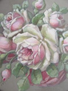OMG-ORIGINAL-Christie-REPASY-PAINTING-in-Old-CHIPPY-CEILING-TIN-PINK-ROSES