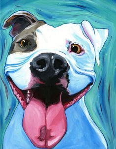 """Pit Bull Dogs """"Happy"""" Pitbull art A former shelter dog, even while in the shelter he had high spirits and hopes for his Forever home, he was rescued by an amazing family, he truly does have something to smile about with that beautiful pitty smile of his! Dog Pop Art, Dog Art, Pitbull Terrier, Dogs Pitbull, Perros Pit Bull, Bull Painting, Dog Paintings, Colorful Paintings, Dog Portraits"""