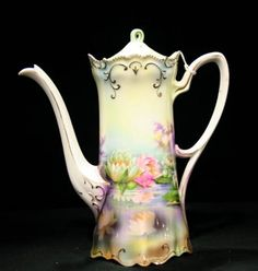 RS Prussia Hand Painted Porcelain Chocolate Pot