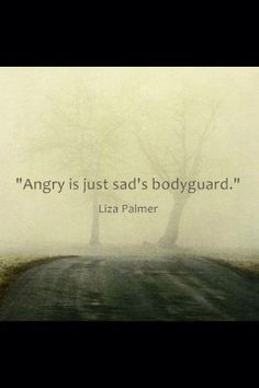 """Angry is just [insecurely] sad's bodyguard."" -Liza Palmer"