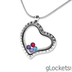 Heart Shaped Glass Locket with Your Choice of Birthstones. Use promo code 'You' to get 20% off your entire order. Great Christmas gift!
