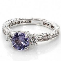 Three Stone Engagement Ring Design with a purple sapphire. Purple Engagement Rings, Engagement Jewelry, Vintage Engagement Rings, Wedding Jewelry, Gold Jewelry, Purple Jewelry, Amethyst Jewelry, Solitaire Engagement, Fine Jewelry