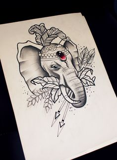 Neo Traditional elephant sketch.