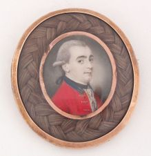 Portrait miniature on ivory -- Officer of the 1st Royal Dragoons   Richard Crosse  Circa 1770
