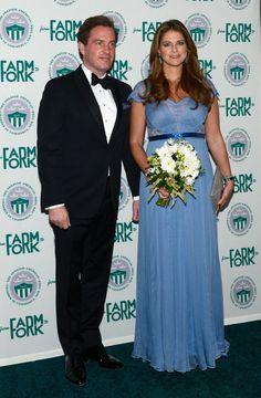 La princesse Madeleine de Suède, enceinte, avec son mari Chris O'Neill le 23 octobre 2013 à New York lors du gala du Green Summit.