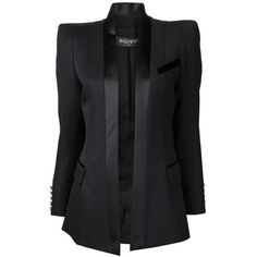 Black wool long blazer from Balmain featuring a shawl collar, a single chest pocket and two front flap pockets. Has structured shoulders with long sleeves and …