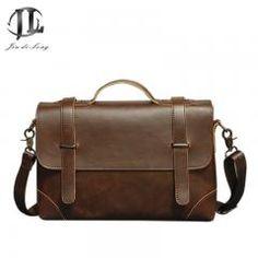 [ 29% OFF ] #vintage Men Briefcase Business Handbag Men's Shoulder Bags Crazy Horse Pu Leather Crossbody Laptop Bag Black Male Mochila 2017