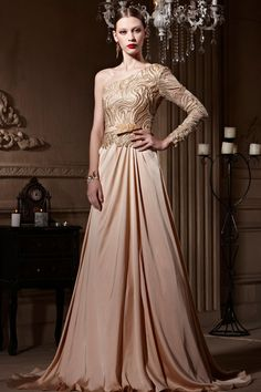 Dressesmall #One Shoulder Embroidery Open Back Court Train #Long #Formal #Dress