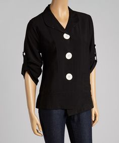 Love this Black Three-Quarter Sleeve Jacket by Come N See on #zulily! #zulilyfinds