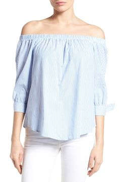 Bobeau Off the Shoulder Cotton Poplin Top available at #Nordstrom