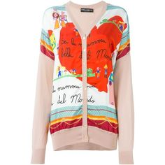 Dolce & Gabbana drawings print cardigan ($1,420) ❤ liked on Polyvore featuring tops, cardigans, red top, loose tops, button front cardigan, print tops and multi color cardigan