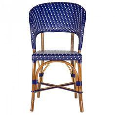 Blue & Cream Mediterranean Bistro Wrap Back Chair (H)