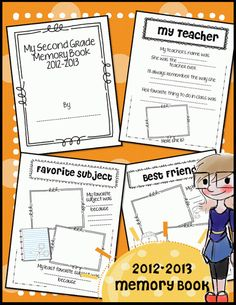 Save those memories with an End of School Memory Book. This book includes 15 pages to collect all the memories of this school year.  $3.50    http://www.teacherspayteachers.com/Product/Memory-Book-2012-2013-End-of-Year-K-1-2-3-4